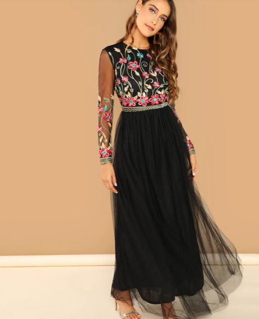 black-dress-flower-shein-valentines