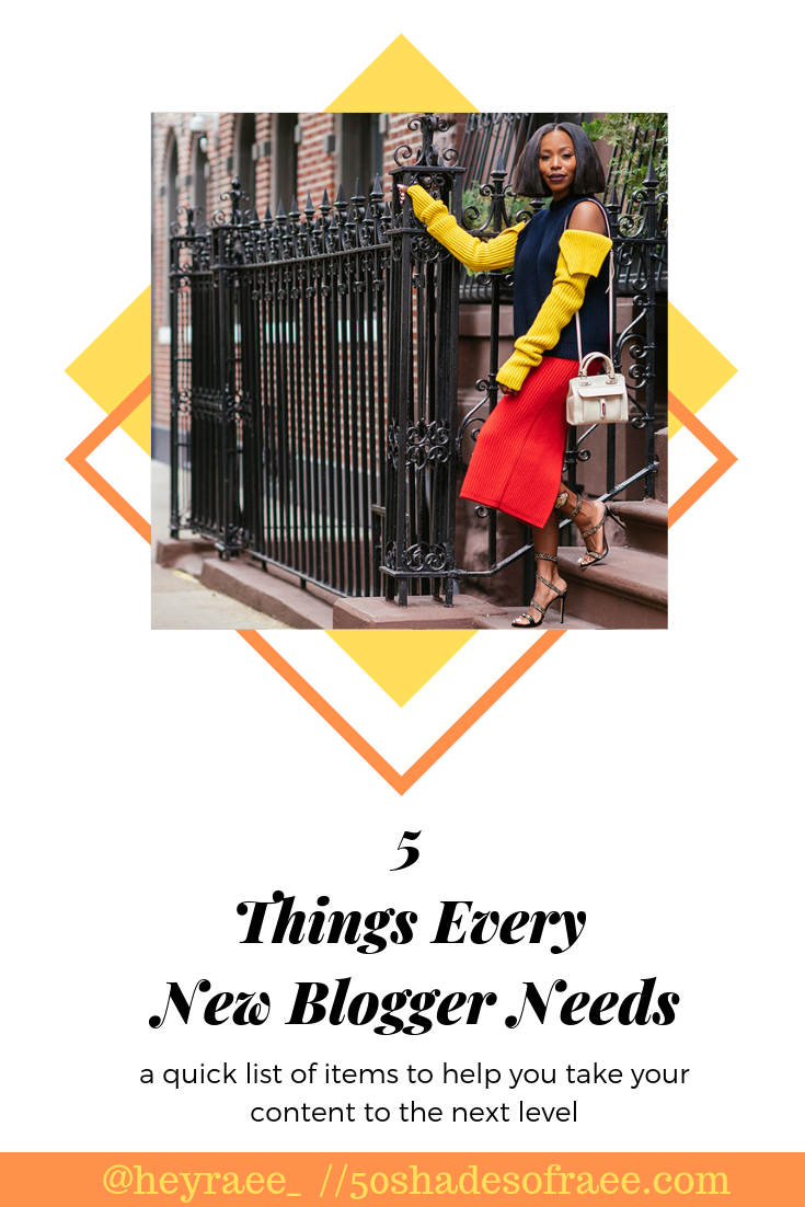 a list of 5 things to purchase for new bloggers to take their content to the next level.