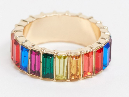 Rainbow baguette ring from ASOS