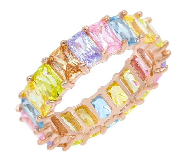 Rainbow pastel baguette ring from Adinas Jewels
