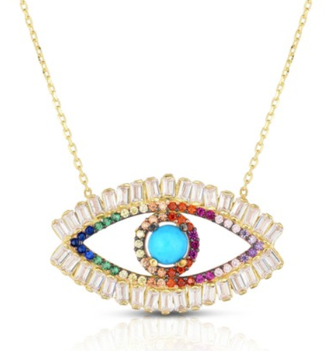 rainbow evil eye pendent from sphera milano