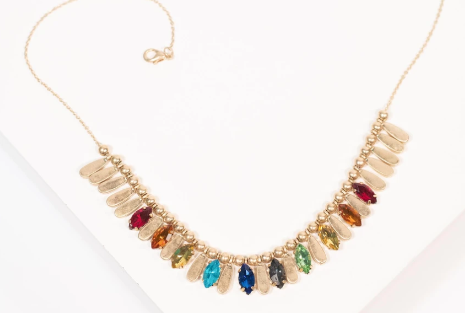 gold and rainbow necklace from unique vintage
