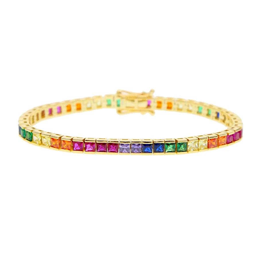 rainbow princess cut tennis bracelet from lolita be mine
